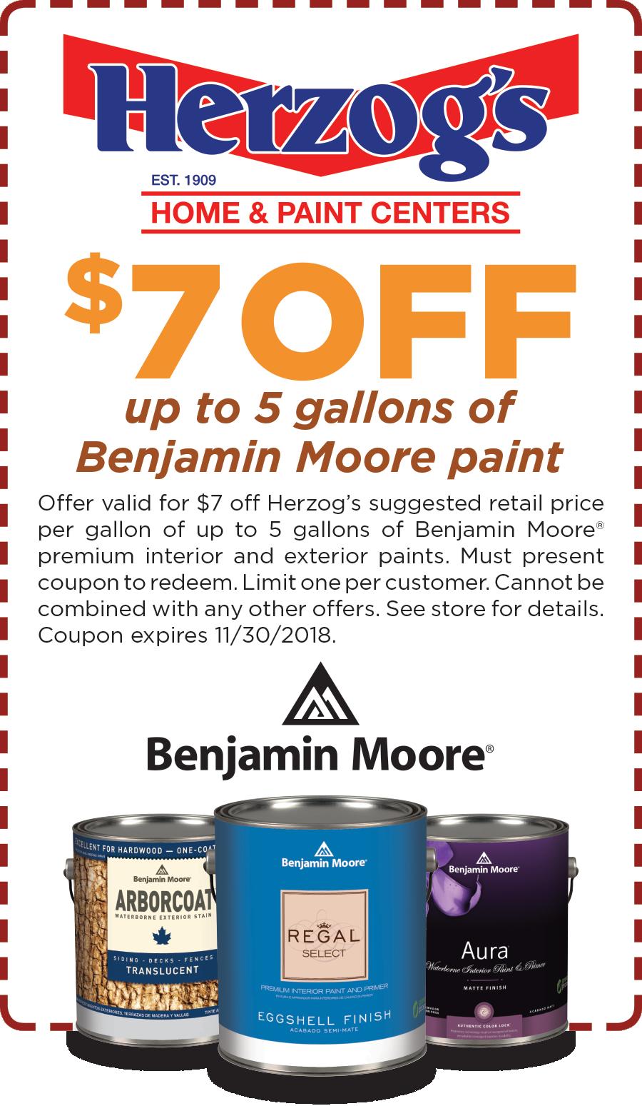 $7 OFF Benjamin Moore Paint