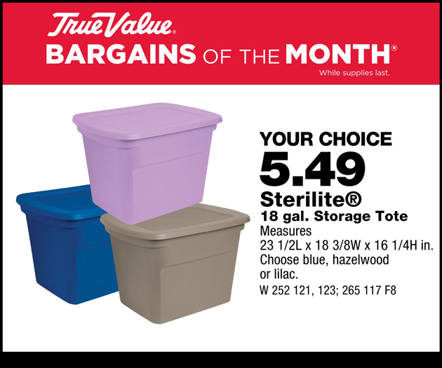 $5.49/each for Sterilite 18 gallon storage tote